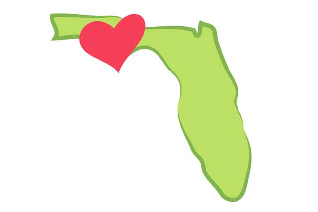 stylized image of the state of florida with a heart overlaid